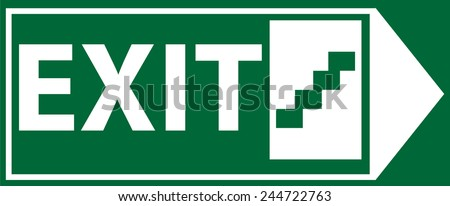 Right Side Emergency Exit Sign Vector - stock vector