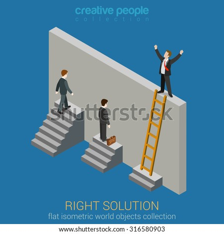 Right Solution to solve problem business concept flat 3d web isometric infographics vector. Creative people collection. - stock vector