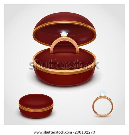 ring in box vector - stock vector