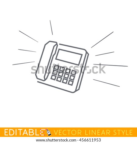 Ring. Incoming call. Editable vector icon in linear style. - stock vector
