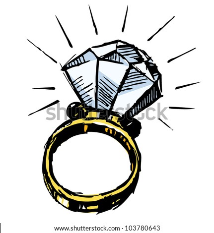 Ring with a big sparking diamond isolated on white background. Sketch vector illustration - stock vector