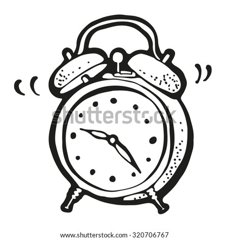 Ringing alarm clock drawing, hand drawn cartoon - stock vector