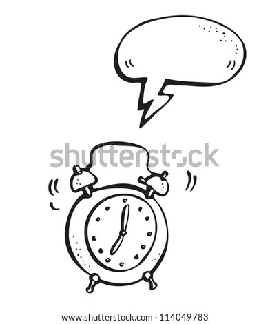 Ringing alarm clock hand-drawn cartoon - stock vector