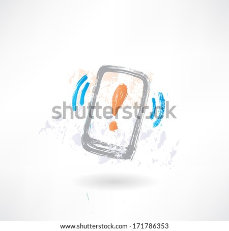Ringing cellphone with an exclamation mark on display. Brush icon. - stock vector