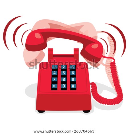 Ringing red stationary phone with button keypad. Vector illustration. - stock vector
