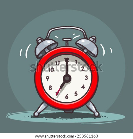 Ringing vintage alarm clock - stock vector
