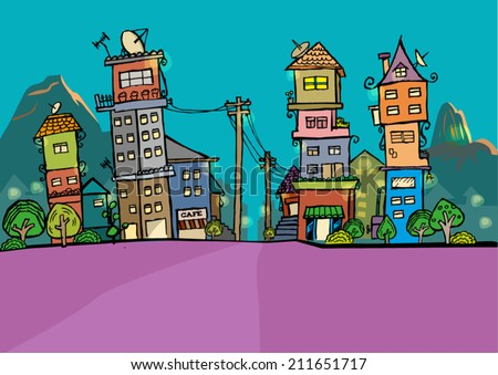 Rio de Jainero, Brazil at Night Skyline cartoon. Stylized illustration concept - stock vector