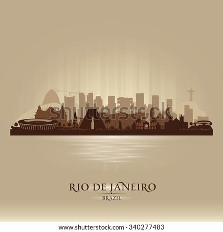 Rio de Janeiro Brazil city skyline vector silhouette illustration - stock vector
