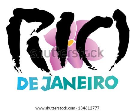 Rio de Janeiro International Cities Hand lettering and Illustration Vector - stock vector