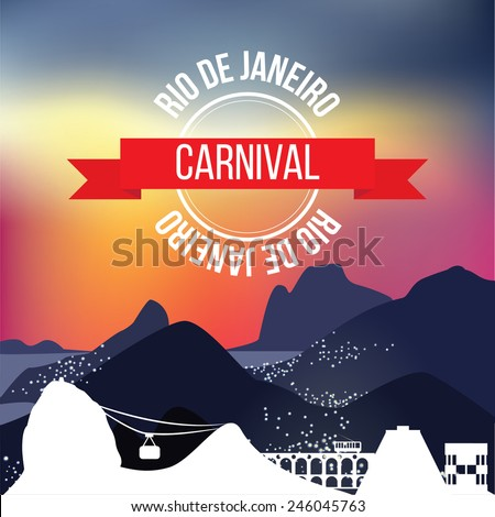 Rio de Janeiro silhouette on background with mountains at night. Rio carnival stamp in sunset sky - stock vector