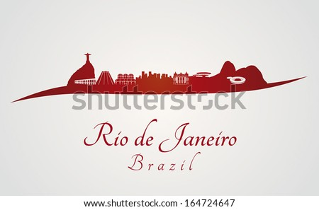 Rio de Janeiro skyline in red and gray background in editable vector file - stock vector