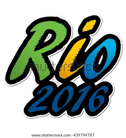 Rio 2016 in flag colors, eps10 vector - stock vector