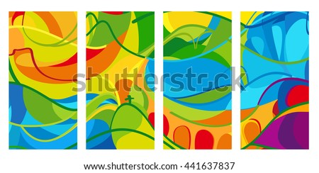 Rio. 2016 set of colorful abstract backgrounds. Summer Athletic Games in Brazil pattern. Rio de Janairo Sport summer Brazil vector illustration for Art, Print, Web design. - stock vector