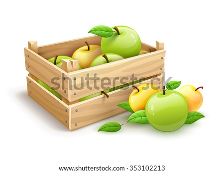 Ripe apple fruits garden harvest in wooden box. vector illustration. Isolated on white background. Transparent objects used for lights and shadows drawing. - stock vector