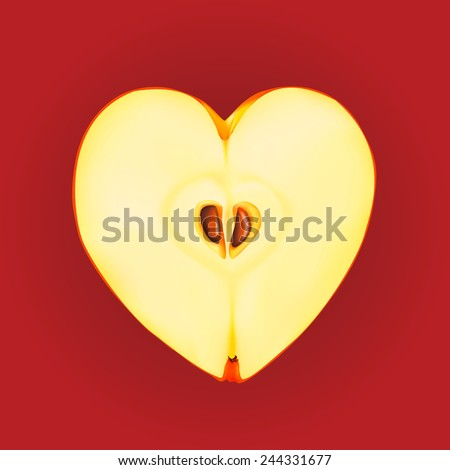 ripe apple in the form of heart - stock vector