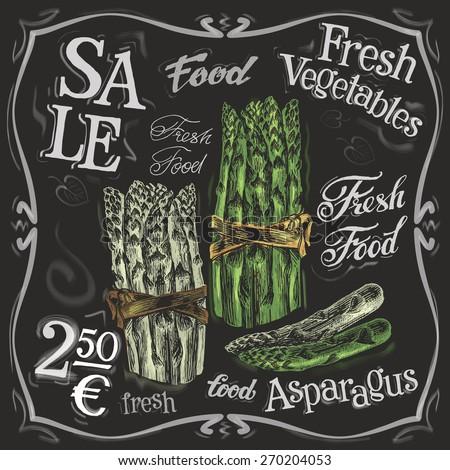 ripe asparagus vector logo design template.  fresh vegetables, food or menu board icon. - stock vector