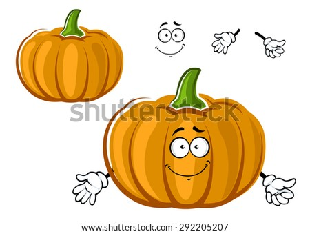 Ripe autumn orange garden pumpkin vegetable cartoon character with rounded segments for agriculture or halloween party design - stock vector