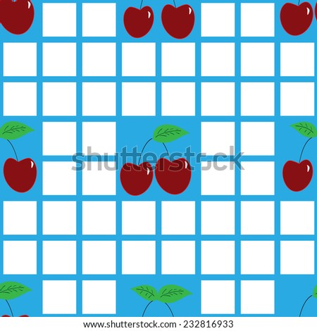 ripe cherry on a background of the cell. seamless pattern  - stock vector