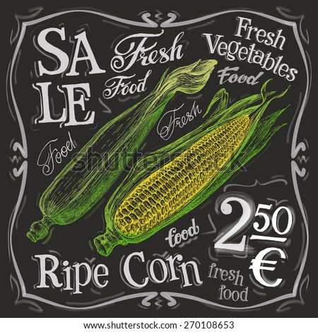 ripe corn vector logo design template. fresh food, vegetables or menu board icon. - stock vector