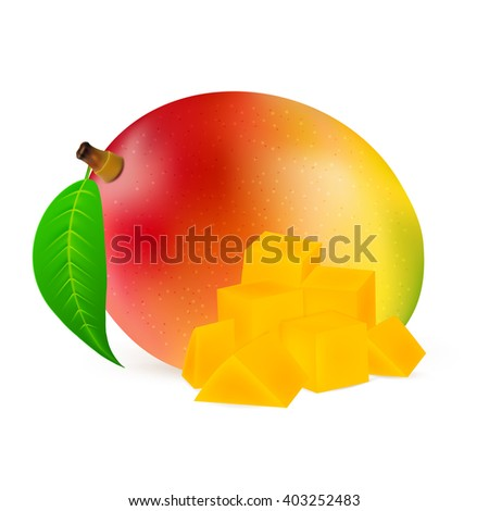 Ripe mango fruit with slices isolated on white background. Realistic vector illustration. - stock vector