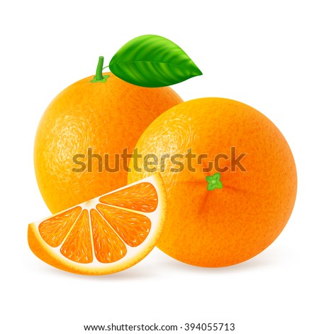 Ripe oranges fruits and slices with leaf isolated on white background. Realistic vector illustration. - stock vector