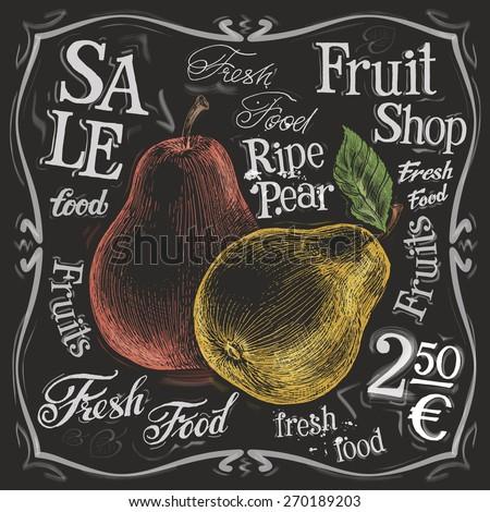ripe pear vector logo design template.  fresh fruit, food or menu board icon. - stock vector