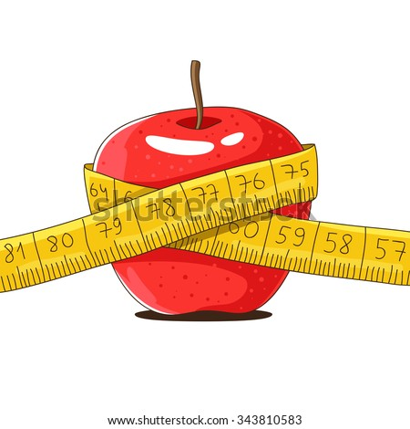 Ripe red apple and yellow measuring tape. Vector illustration on a white background, painted by hand. - stock vector