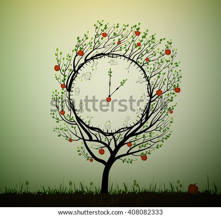 ripe time, summer clock, time to ripen the fruit, apple tree looks like clock,  vector, - stock vector