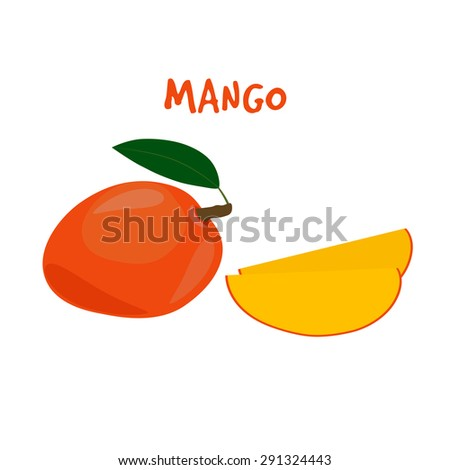 Ripe Yummy Mango  on a White Background.  - stock vector
