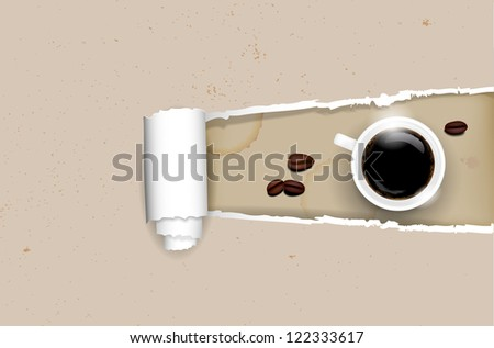 Ripped paper background - coffee concept. Vector file. - stock vector