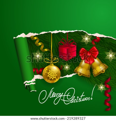 Ripped paper frame design. Festive background with realistic ball, bell, gift, serpentine, Christmas trees for greeting card, invitation, congratulation. Vector illustration. EPS10. - stock vector
