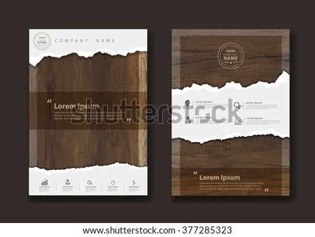 Ripped paper on texture of wood background, Business brochure flyer design layout template in A4 size, Vector illustration modern design ( Image trace of wooden background ) - stock vector