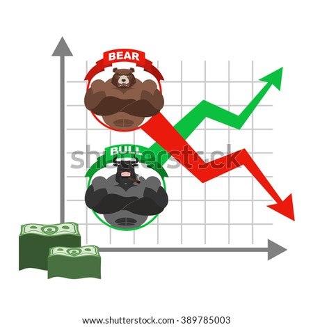 Rise and fall of  quotations of dollar. Bets on  Exchange. Bears and bulls. Red and green arrow. Business graph. graph of traders on stock exchange. Sale and purchase of shares - stock vector