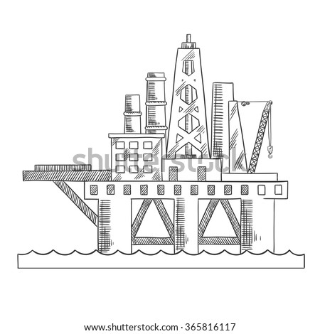 Rising above the sea oil platform. Platform drilling offshore oil. Sketch style vector - stock vector