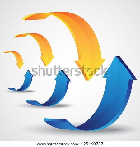 Rising And Descending Arrows On Gray Background - Vector Illustration, Graphic Design Editable For Your Design - stock vector