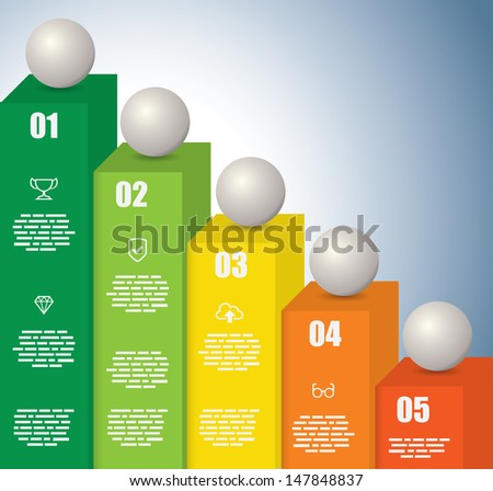 Rising Graph with a sphere on each bar - stock vector