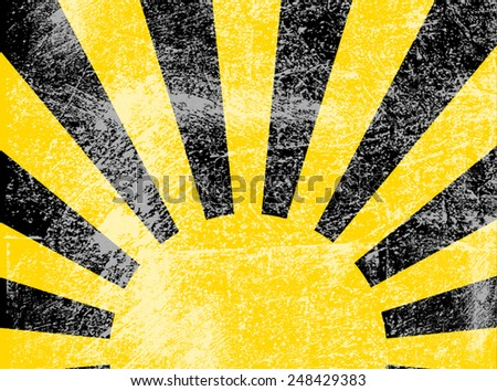 Rising or setting sun with sun rays in black and yellow. Vector - stock vector