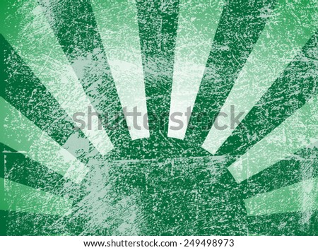 Rising or setting sun with sun rays in green. Vector - stock vector