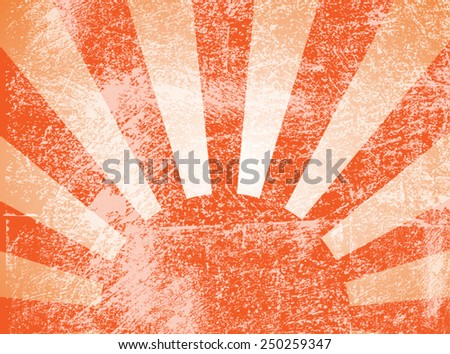 Rising or setting sun with sun rays in orange. Vector - stock vector