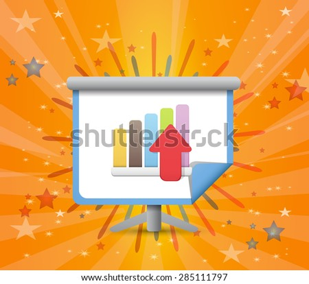 Rising Statistics Icon with Glorious Display - stock vector