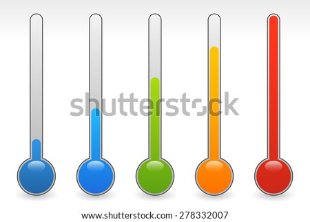 rising thermometer, thermograph set. vector elements. temperature, climate concepts. - stock vector