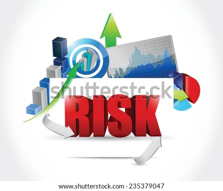 risk business graph illustration design over a white background - stock vector
