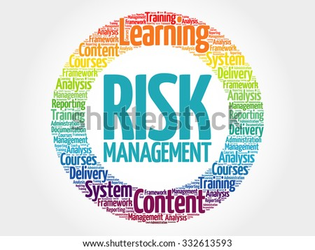 Risk Management circle stamp word cloud, business concept - stock vector