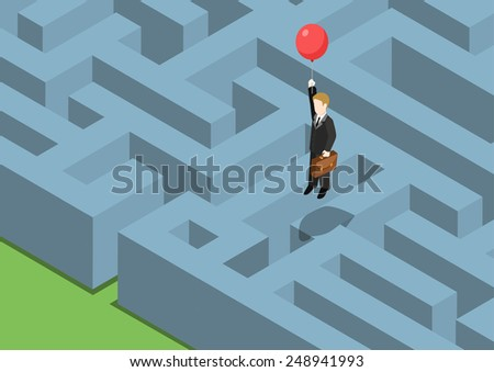 Risk management concept flat 3d web isometric infographic. Labyrinth maze puzzle avoid business problems creative smart solutions. Businessman on balloon flying over obstacles, keep away from crisis. - stock vector