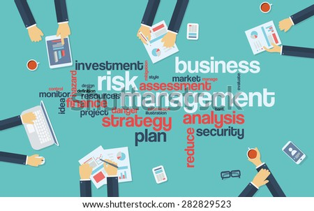 Risk management infographics poster with businessmen working around the word cloud. Analysis and planning keywords. Office objects. Eps10 vector illustration. - stock vector