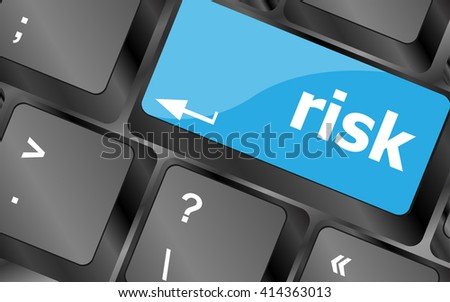 risk management keyboard key showing business insurance concept. Keyboard keys icon button vector - stock vector