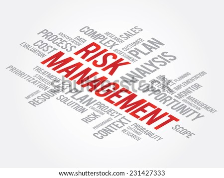 Risk Management Shows Identifying, Evaluating And Treating Risks, presentation background - stock vector