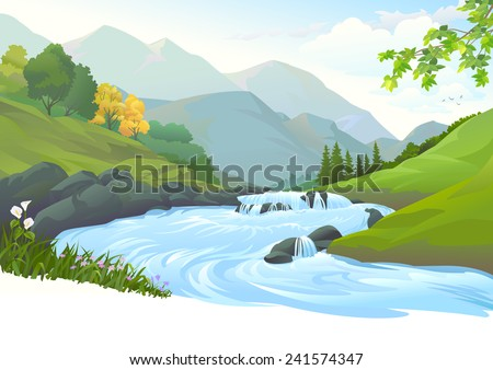 River flowing down stream across a beautiful forest - stock vector