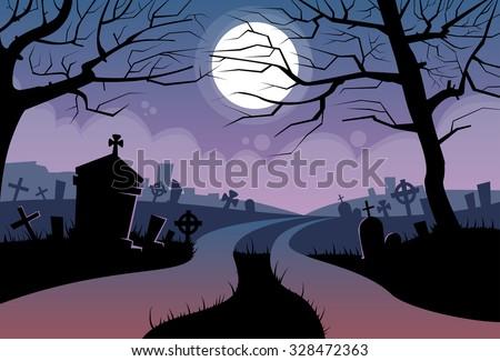 River Halloween Moon Cemetery Banner Graveyard Card Flat Vector Illustration - stock vector