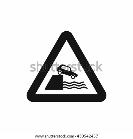 Riverbank traffic sign icon, simple style - stock vector